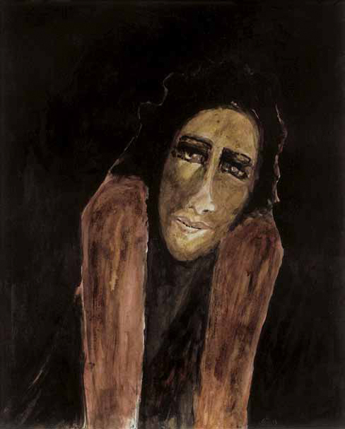 Untitled (Portrait of a Woman), by Rabindranath Tagore. Watercolour and coloured ink on paper; 49.5 x 40 cm. Private collection. Image courtesy Sotheby's, London.