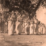 Girls dancing in a procession at Santiniketan, by Shambhu Shaha. From Faces & Places of Visva-Bharati: A Collection of Photographs, by Shambhu Shaha, 2nd edn., Visva-Bharati Publishing Department, Kolkata, 2008. Rabindra Bhavana Acc. No. SS584.