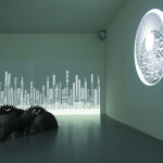 MOUNIR FATMI Modern Times, a History of the machine 2009-2010, videos, sound, saw blades in steel. Exhibition view from Told, Untold, Retold, Mathaf Arab Museum of Modern Art, Doha. Courtesy de l'artiste et de Mathaf Arab Museum of Modern Art, Doha. Collection Mathaf Arab Museum of Modern Art, Doha.