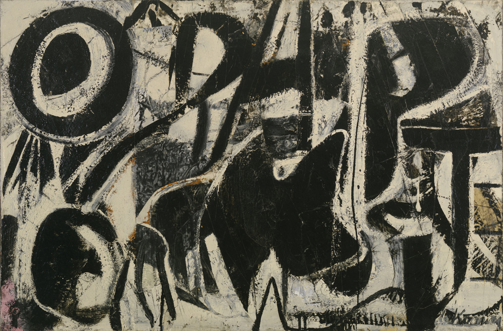 """Willem de Kooning (American, born the Netherlands. 1904-1997) Orestes 1947 Enamel on paper mounted on plywood 24 1/8 x 36 1/8"""" (61.3 x 91.8 cm) Private collection © 2011 The Willem de Kooning Foundation/Artists Rights Society (ARS), New York"""