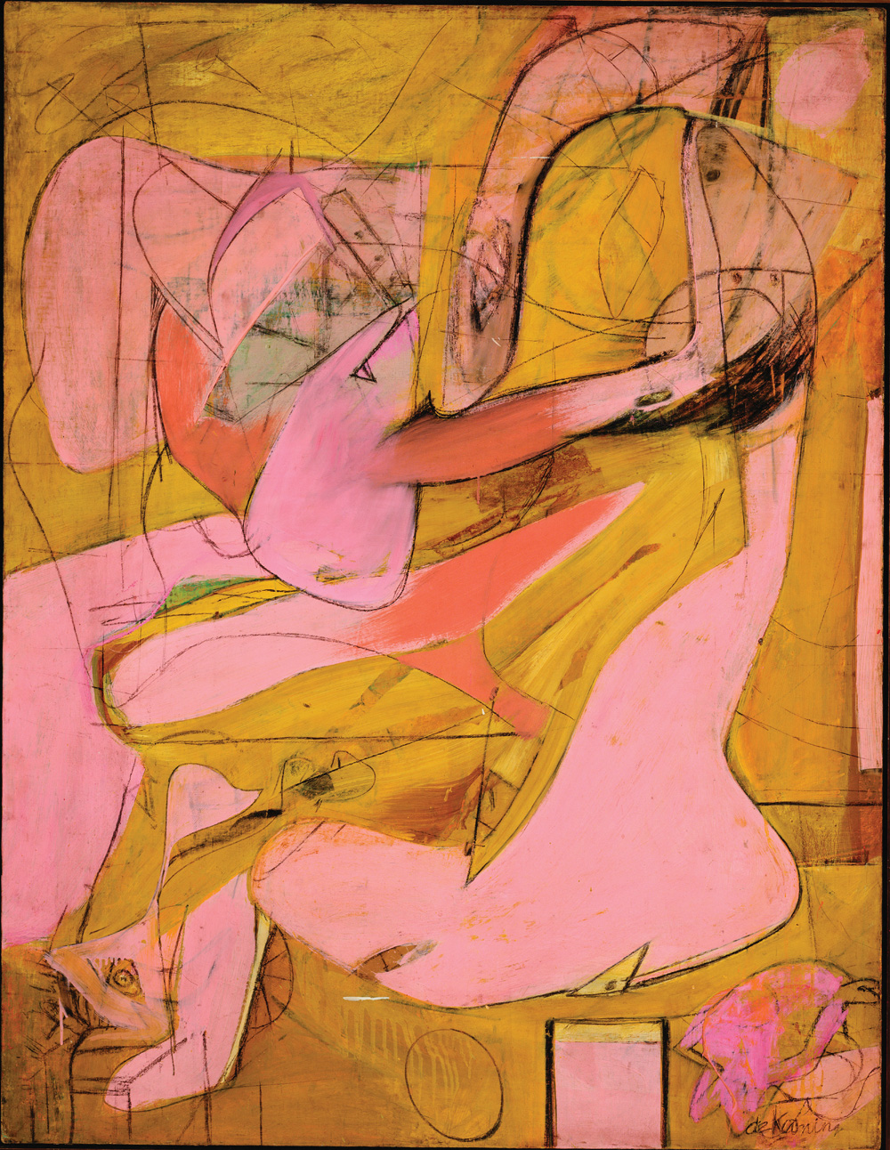 "Willem de Kooning (American, born the Netherlands. 1904-1997) Pink Angels c. 1945 Oil and charcoal on canvas 52 x 40"" (132.1 x 101.6 cm) Frederick R. Weisman Art Foundation, Los Angeles © 2011 The Willem de Kooning Foundation/Artists Rights Society (ARS), New York"