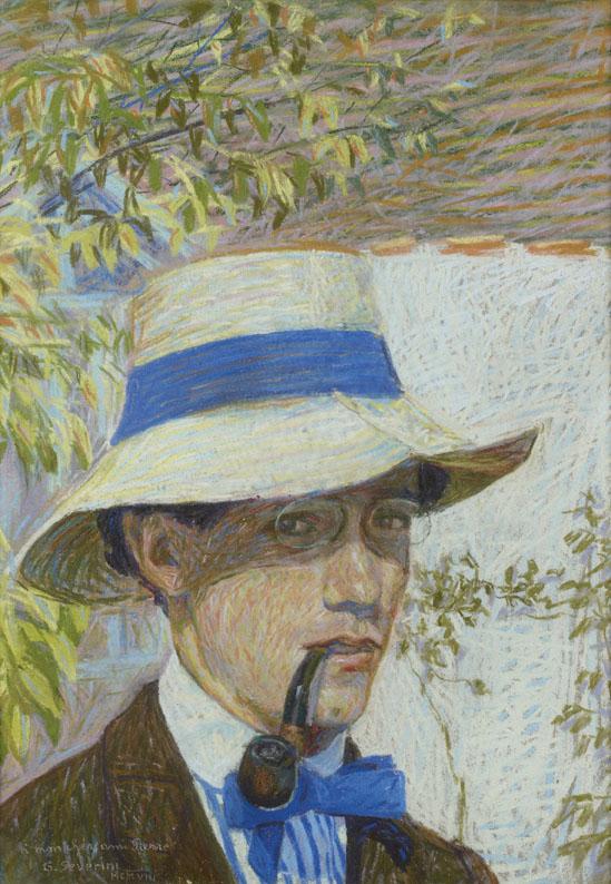 Autoritratto con panama (Autoportrait à la pipe), 1908 pastello su carta, 50 x 34 cm courtesy Jean-Luc Baroni Ltd., Londra