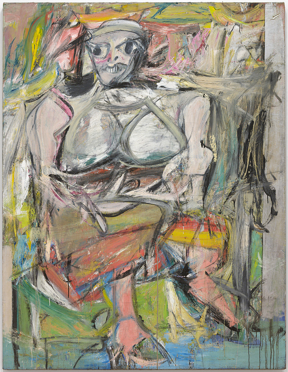 "Willem de Kooning (American, born the Netherlands. 1904-1997) Woman, I, 1950-52 Oil, enamel and charcoal on canvas 6' 3 7/8"" x 58"" (192.7 x 147.3 cm) The Museum of Modern Art, New York. Purchase. © 2011 The Willem de Kooning Foundation / Artists Rights Society (ARS), New York"