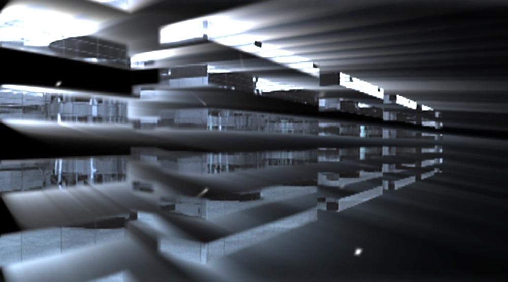 """Il Tesoro, 2006 Durata: 9' 40"""" Formato: DVD Video Suono: Stereo Opera presentata per la prima volta in occasione della mostra """"Paradiso"""", Galleria Gottardo, Lugano, 2006 Soggetto dell'opera è il magico viaggio in soggettiva che si compie nello spazio luminoso e d'acciai riflettenti del caveau di una banca. Lo sguardo fluttuante della macchina da presa s'identifica col punto di vista immateriale dell'occhio errante nello spazio. L'invisibile osservatore perviene, attraverso varchi di luce bianca, in un'alterità rappresentata da elementi simbolici d'architettura e di luce."""