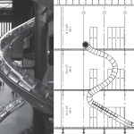 "Left: Test Site, 2006. Installation view, ""Test Site,"" Tate Modern, London, 2007. © Tate Photography; Right: Architectural drawing of Carsten Höller's slide at New Museum, 2011."