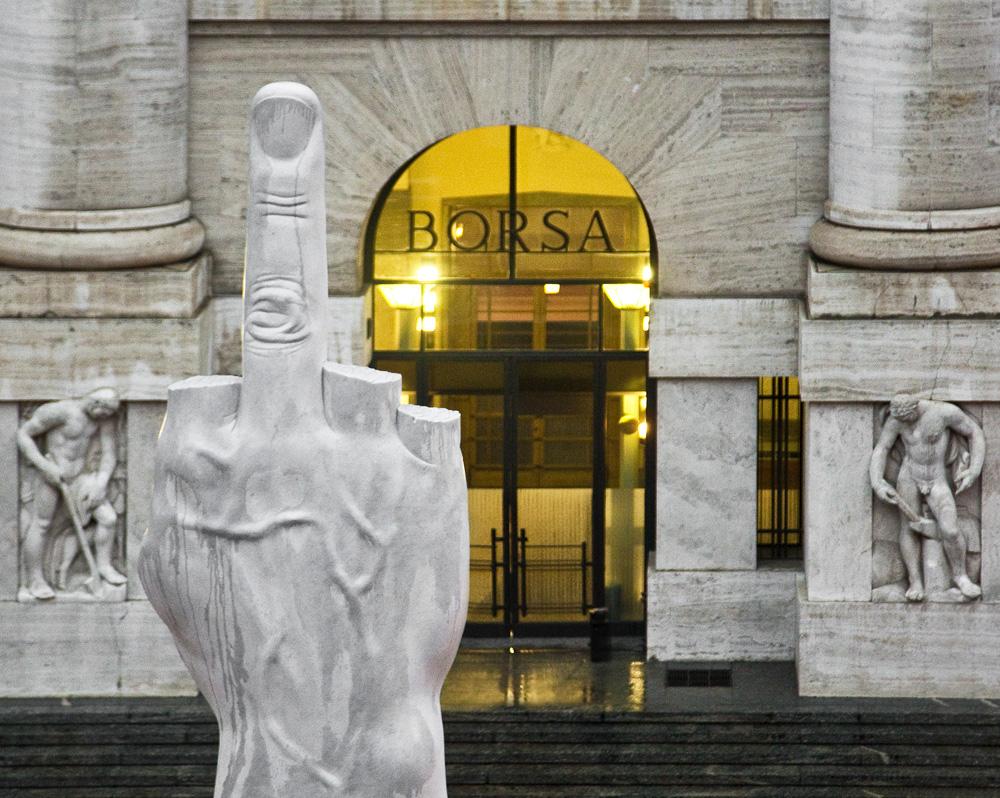 Maurizio Cattelan L.O.V.E., 2010 Carrara marble, figure: 470 x 220 x 72 cm; base: 630 x 470 x 470 cm Courtesy of the artist. © Maurizio Cattelan Photo: Zeno Zotti
