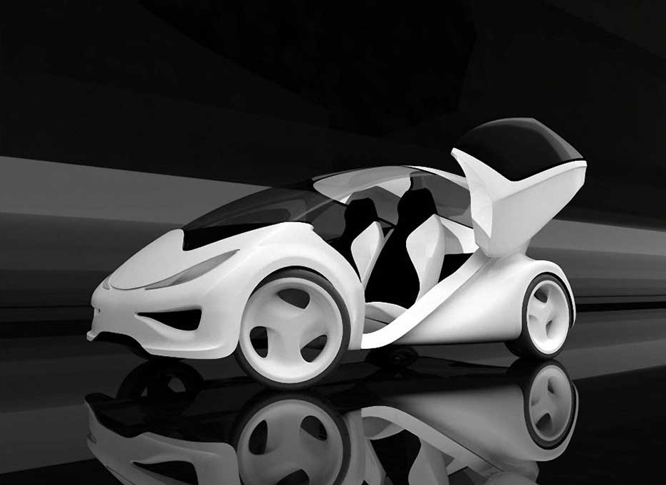 Z-Car I, 2006. Zaha Hadid (Iraqi, b. 1950). Lightweight carbon fiber composite: EPS PU, PU-coating, car paint. 65 3/4 x 72 13/16 x 148 in. Black/white. Made by GTM Cars, Kingswinford, England. Photography courtesy of Zaha Hadid Architects: Project Zaha Hadid Architects in collaboration with Kenny Shachter/ ROVE Gallery London.
