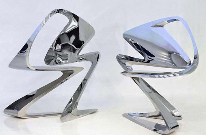 Z-Chair, 2011. Zaha Hadid (Iraqi, b. 1950). Stainless steel. 34 5/8 x 24 x 36 1/4 in. Silver. Enrico Suà Ummarino, courtesy of Sawaya & Moroni