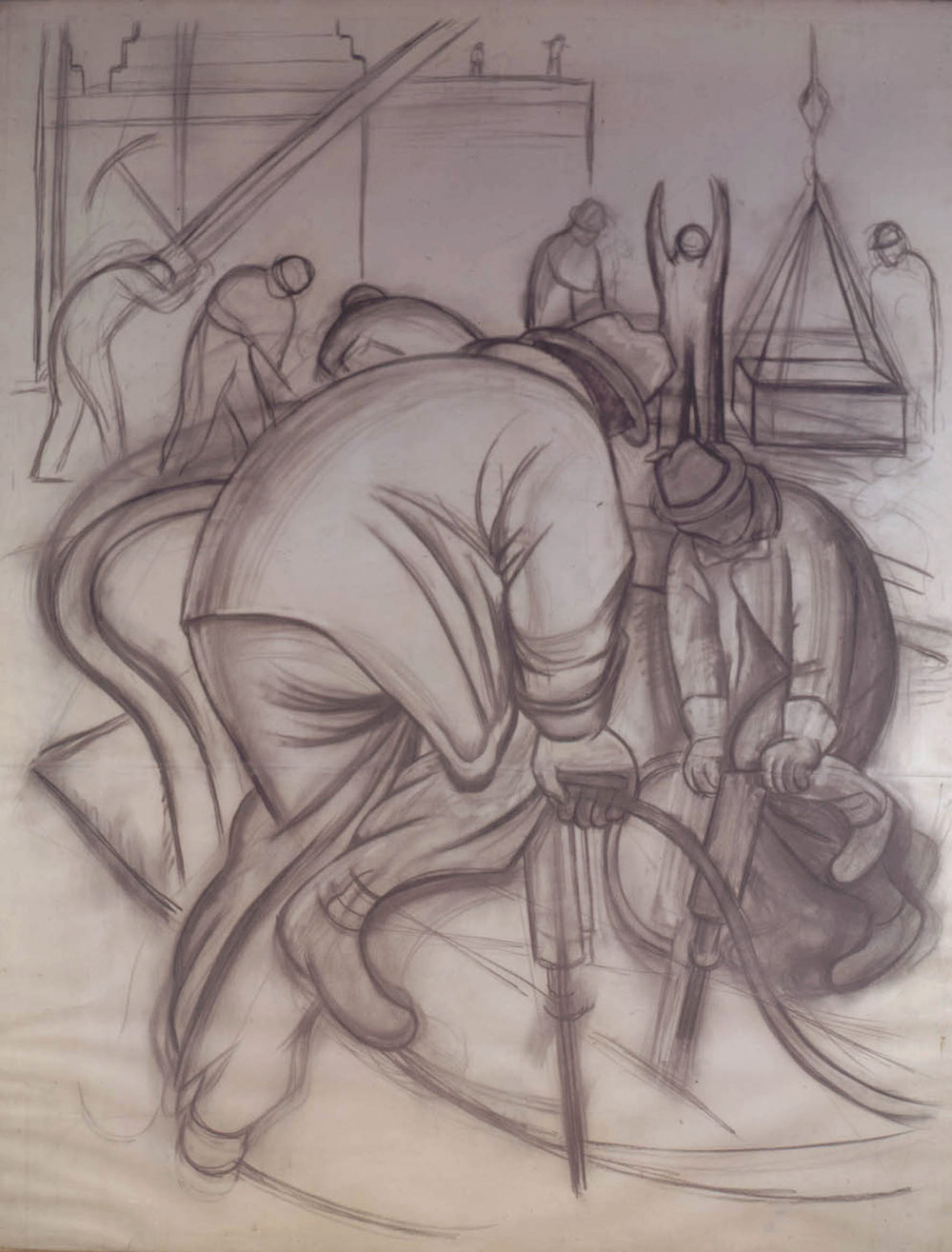 Diego Rivera. Pneumatic Drill (cartoon for Pneumatic Drilling). 1931. Charcoal on paper, 97 1/4x 76 7/8 (247 x 195.2 cm). Museo Dolores Olmedo, Xochimilco, Mexico © 2011 Banco de México Diego Rivera & Frida Kahlo Museums Trust, México, D.F./Artists Rights Society (ARS), New York