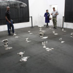 Frith Street Gallery, Cornelia Parker, 30 Pieces of Silver, 2003, 15 pairs of silver objects with squashed 'reflection, 430 x 280 cm
