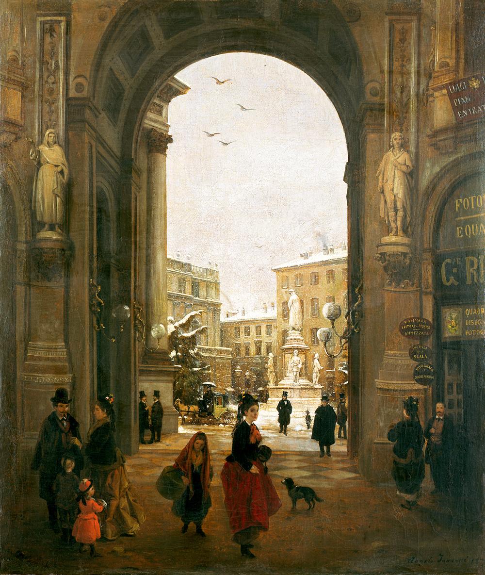 Angelo Inganni (Brescia 1807 – 1880) Veduta di piazza della Scala con neve cadente vista dalla Galleria, 1874 Olio su tela, 65,5 x 55,5 cm Collezione Intesa Sanpaolo