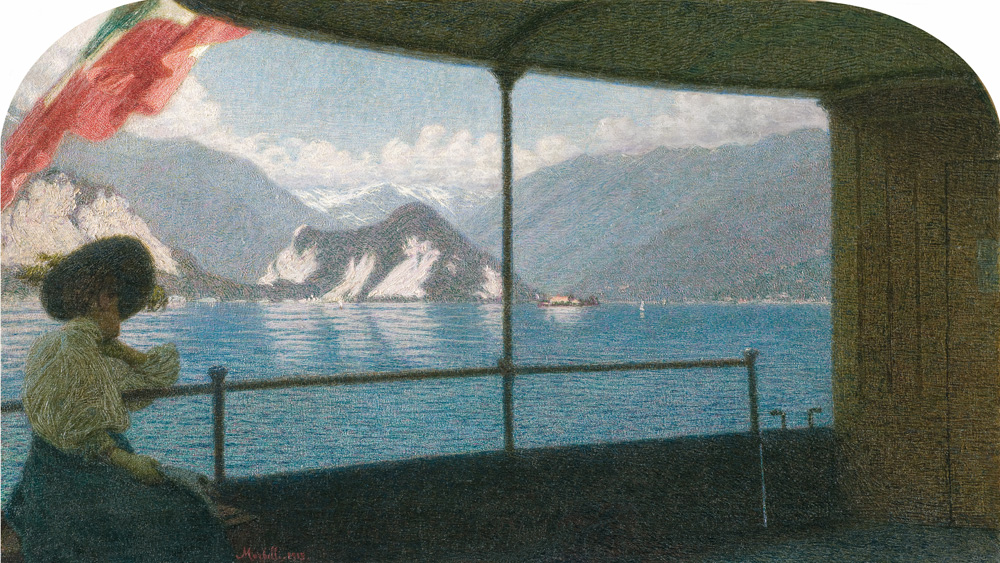 Angelo Morbelli (Alessandria 1853 – Milano 1919) Battello sul Lago Maggiore, 1915 Olio su tela, 58,5 x 103 cm Collezione Fondazione Cariplo