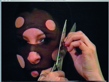 Sanja Iveković. Personal Cuts. 1982. Video (black and white and color, sound), 3:35 min. The Museum of Modern Art, New York. Gift of Jerry I. Speyer and Katherine G. Farley, Anna Marie and Robert F. Shapiro, Marie-Josée and Henry R. Kravis, and Committee on Media and Performance Art Funds. © 2011 Sanja Iveković
