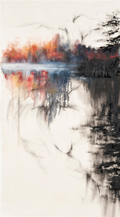 Liquiscape 07 - olio e grafite su tela - cm 75 x100