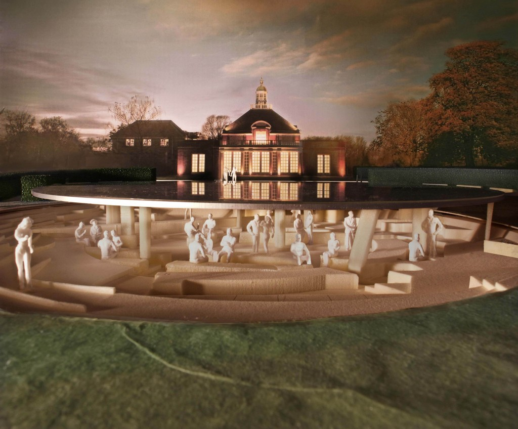 Dusk view - Serpentine Gallery Pavilion 2012 Designed by Herzog &amp; de Meuron &amp; Ai Weiwei  2012, by Herzog &amp; de Meuron and Ai Weiwei, Kensington Gardens, London, UK