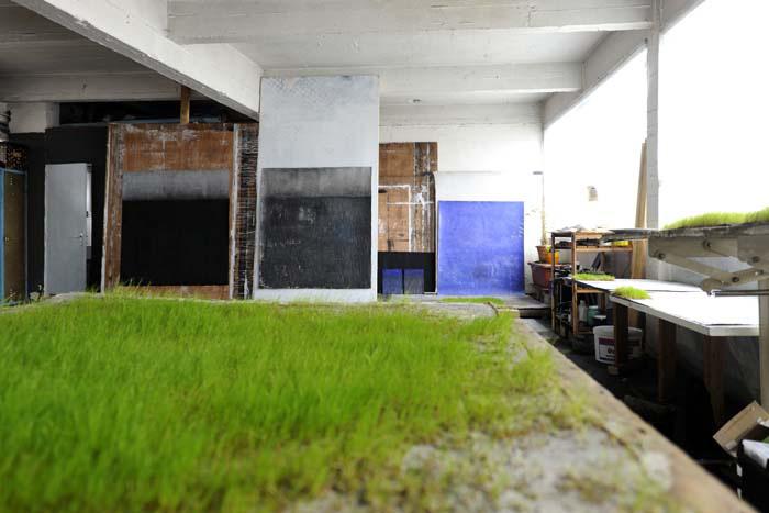 Vue de l'atelier de Lee Jin Woo, avril 2012.