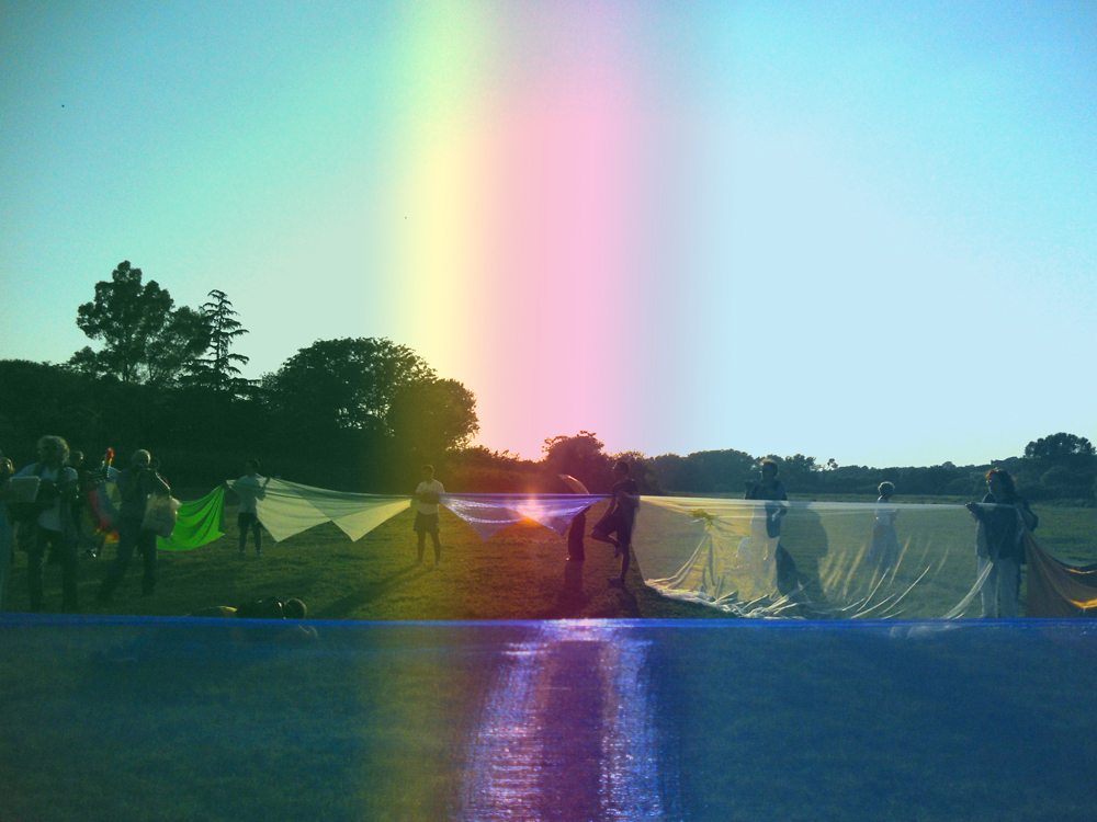 Performance Rainbow in Caffarella Valley in Rome - London Biennale Pollination 5.7.2012