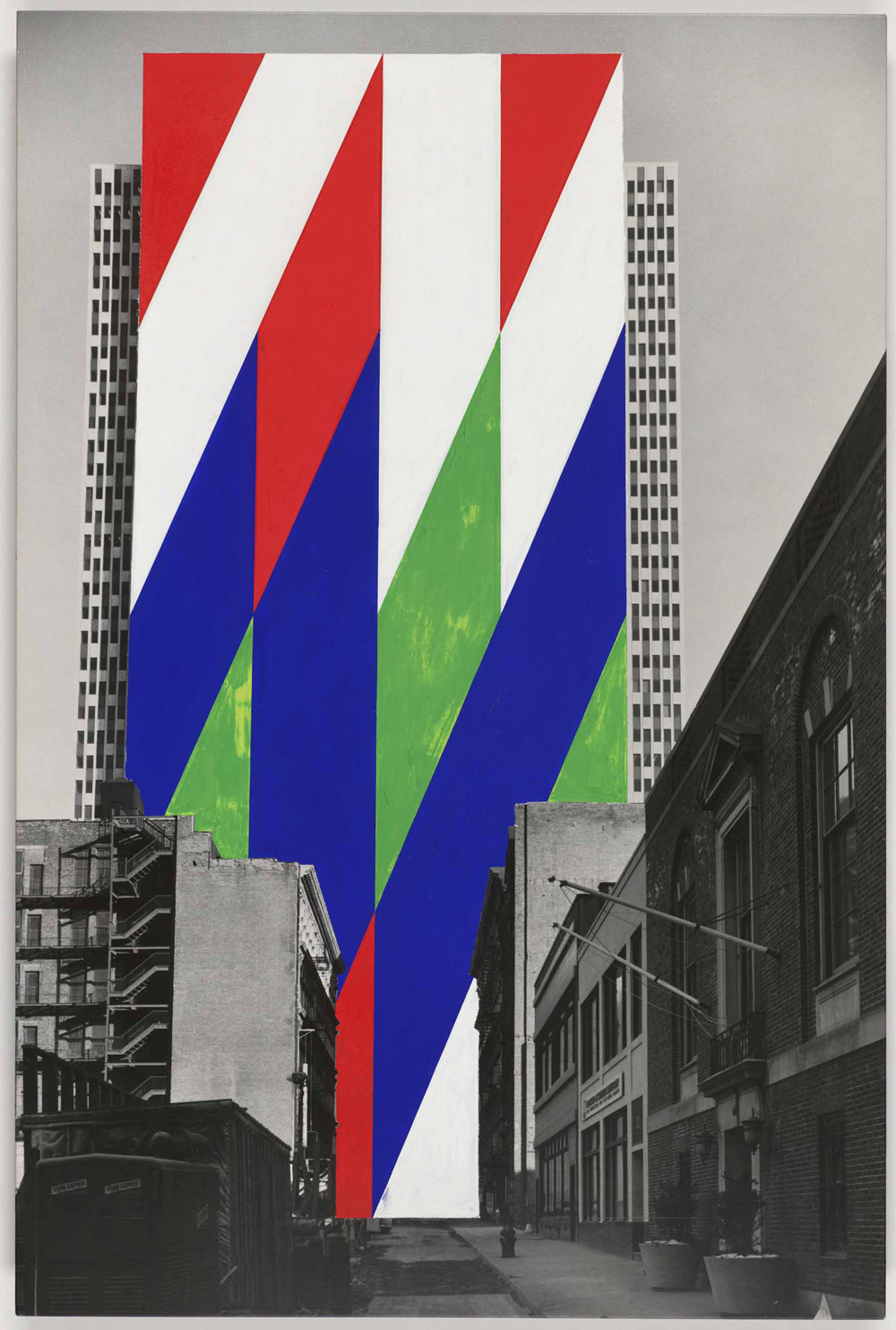 Jason Crum (American, 1935-2004). Project for a Painted Wall, New York City, New York. Perspective. 1969. Gouache on photograph. 30 x 20″ (76.2 x 50.8 cm). The Museum of Modern Art, New York. Purchase, 1969