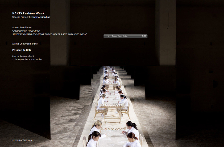 Sound installation by Sylvio Giardina - Paris Fashion Week, September 2012