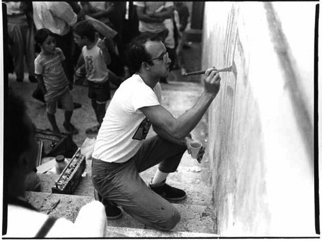 Stefano Fontebasso De Martino Keith Haring arte di frontiera, Roma sett. 1984 ink jet print cm 33 x 48,6