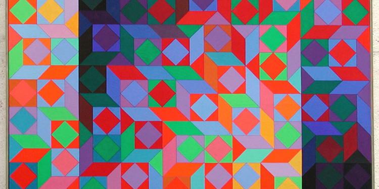 Vasarely Victor Galerie Lahumière Marmor II, 1969,100 X 100 cm Acrylique sur toile
