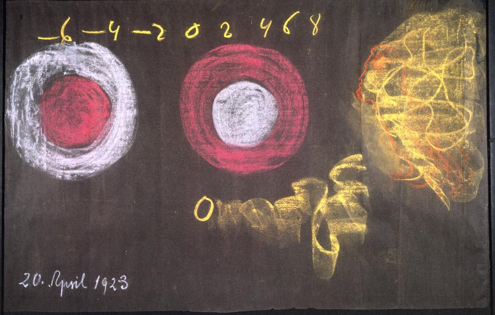 Rudolf Steiner Disegni alla lavagna, 1923 Gesso su carta nera 102 x 153 x 3,8 cm Courtesy Rudolf Steiner Archive, Dornach, Switzerland