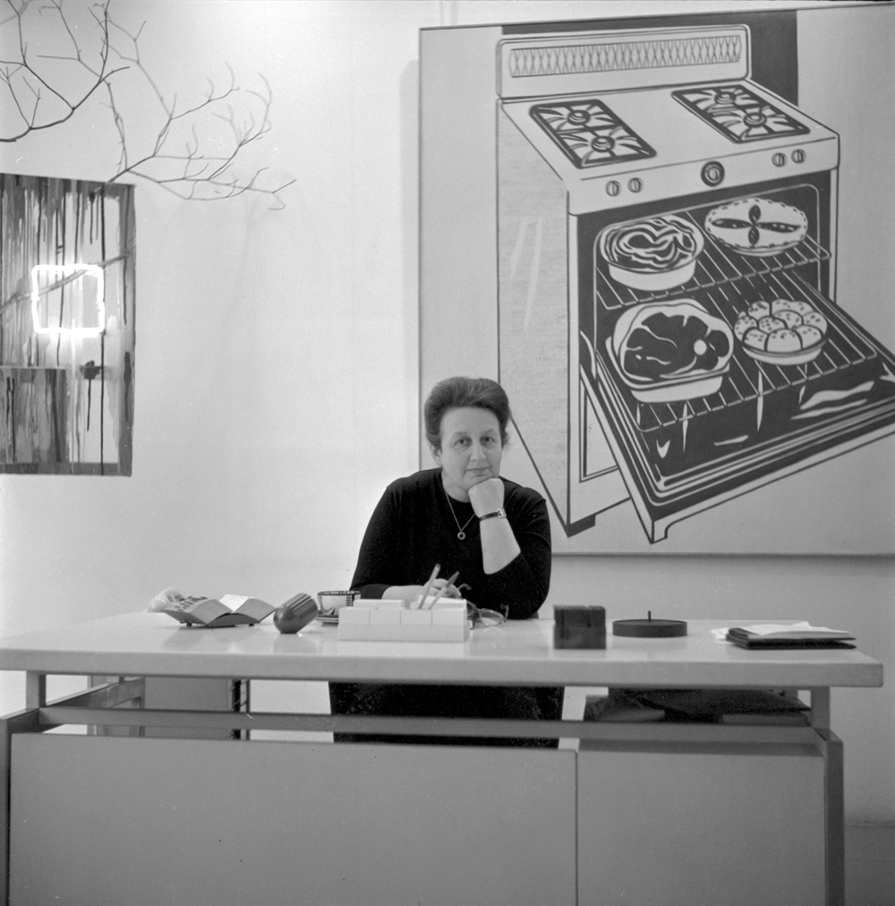 Ileana Sonnabend at her desk at Galerie Ileana Sonnabend, Paris, circa 1965. Courtesy Sonnabend Gallery, New York