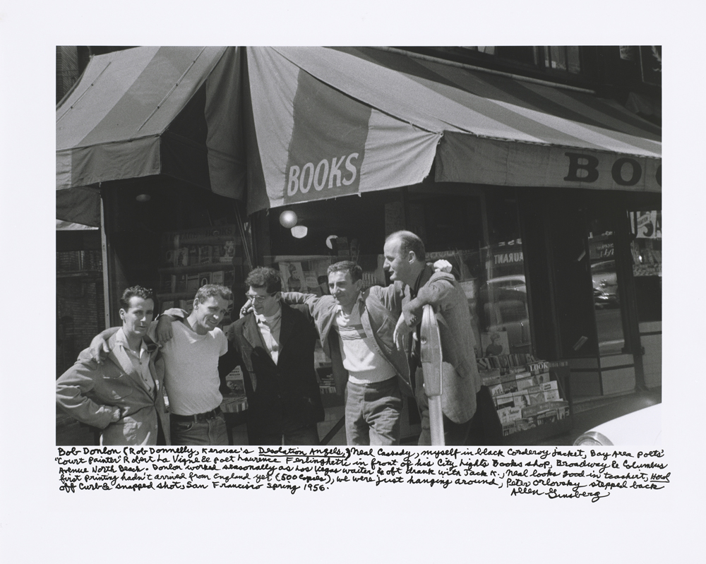 Bob Donlin, Neal Cassady, Allen Ginsberg, Robert LaVigne & Lawrence Ferlinghetti, City Lights Books, 1955 © Photo: Allen Ginsberg Estate
