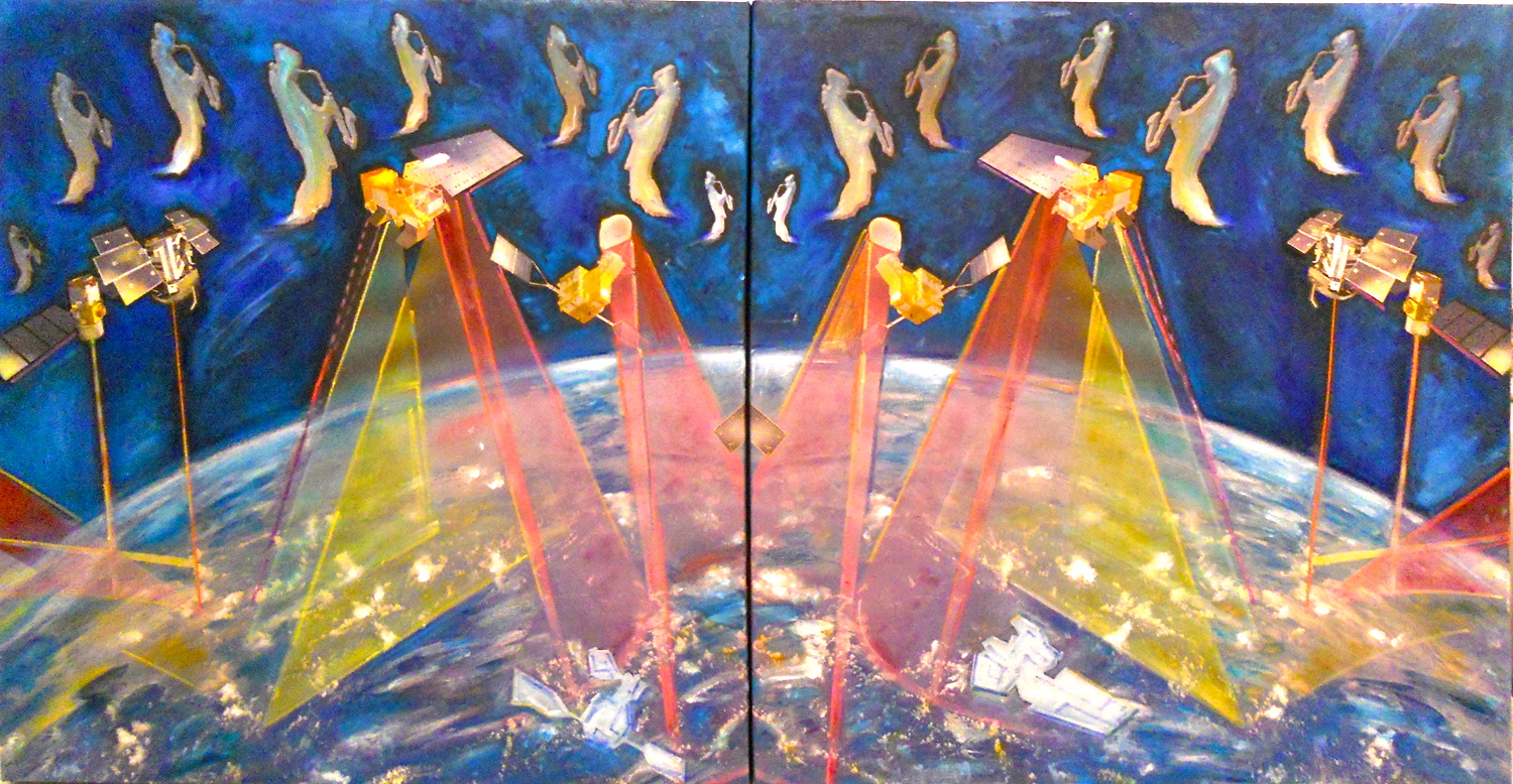 cosmic sax symphony 1-2, Raffaella Losapio, cm 100 x 200, oil painting on plotter painting, 2013, courtesy the artist