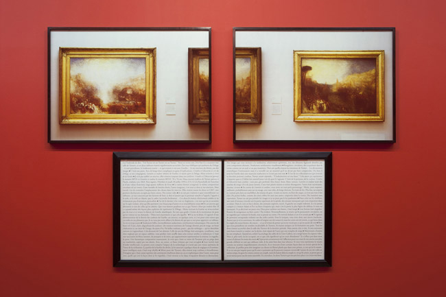 "Sophie Calle ""Purloined : Turner"", 1998-2013, Two colour photographs, text, frames, 90 x 127 cm / 35 1/2 x 50 inches (each photo), 90 x 170 cm / 35 1/2 x 67 inches (text), 15 x 20 cm / 6 x 7 3/4 inches (introduction text) ©Adagp, Paris 2013"
