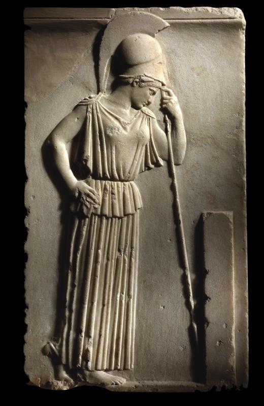 """Atena """"Pensosa""""  460 a.C. circa Marmo pario Provenienza: sud del Partenone, 1888 Atene, Museo dell'Acropoli"""