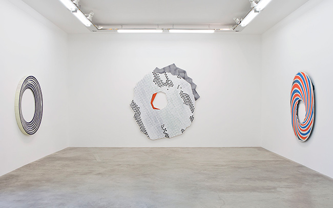 "Views of the exhibition, ""Post-Op. Perceptual Gone Painterly. 1958-2014"",  curated by Matthieu Poirier, from March 8 to April 19, 2014 at Galerie Perrotin, Paris."