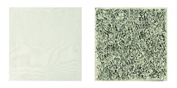 n. 6 Dittico Campo sonoro 40x40x2 anno 2012 tecnica mista, garze tese, impasto di gesso e stucco a tempera su tela - Carlo Rea