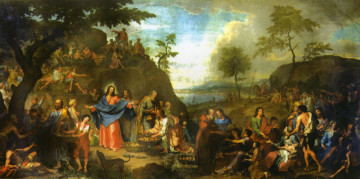 Nel presbiterio a sinistra: La moltiplicazione dei pani e dei pesci. The feeding of the five thousand. La multiplication des pains et des poissons. Multiplikation der Brote und der Fische dipinto nel 1721 da Bartolomeo Letterini