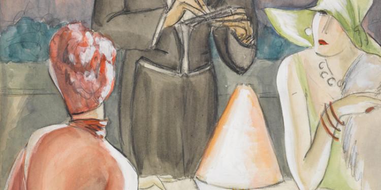 Dodo (Dörte Clara Wolff) Im Café Um 1926 Wasserfarben, Grafit 43,9 x 34,8 cm Krümmer Fine Arts © Dodo Estate