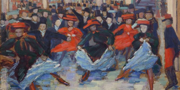Ida Gerhardi Tanzbild VIII (Can-Can-Tänzerinnen bei Bullier) um 1904 Öl auf Pappe Museen der Stadt Lüdenscheid, Sammlung Städtische Galerie Foto: Steffen Schulte-Lippern