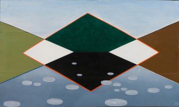 Meret Oppenheim Teich im Park 1961-1975 Öl auf Holz 45,5 x 76,5 cm Privatsammlung Schweiz VG Bild-Kunst, Bonn 2015