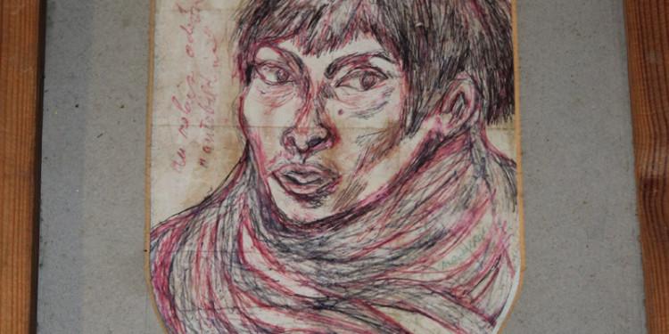 self portrait, David Medalla, Signals London 1961 - cm 5 x 7,5 - medium biro