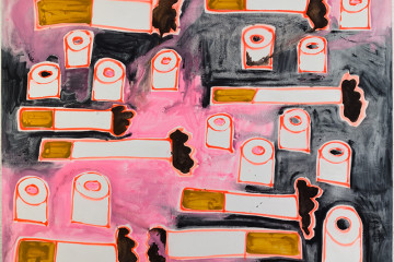 Katherine Bernhardt, Cigarettes and Toilet Paper, Black and Pink, 2016, Courtesy of Carl Freedman Gallery, London and Canada Gallery, New York © Katherine Bernhardt and Manifesta 11