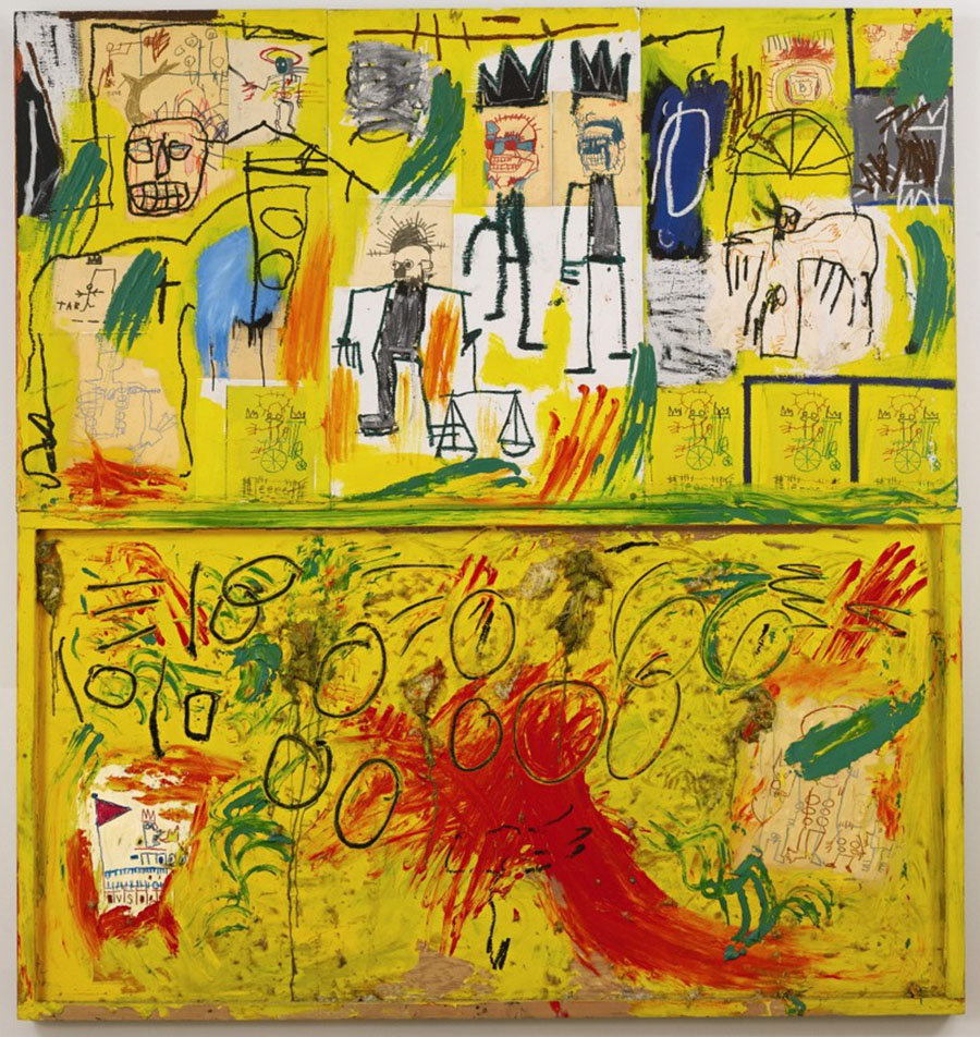 Basquiat-untitled-yellow tarand feathers-1982