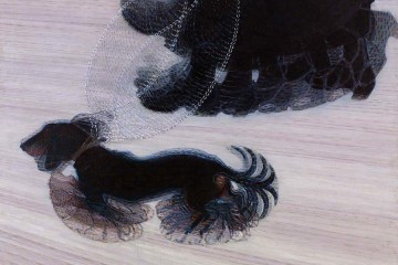 Giacomo Balla, Dinamismo di un Cane al Guinzaglio (Dynamism of a Dog on a Leash), 1912, olio su tela, 89.85 x  109.85 cm - Buffalo, The Albright-Knox Art Gallery /Bequest of A. Conger Goodyear and Gift of George F. Goodyear, 1964 © 2015 Artists Rights Society (ARS), New York / SIAE, Rome.  Photograph by Tom Loonan. ©  Giacomo Balla, by SIAE 2016.