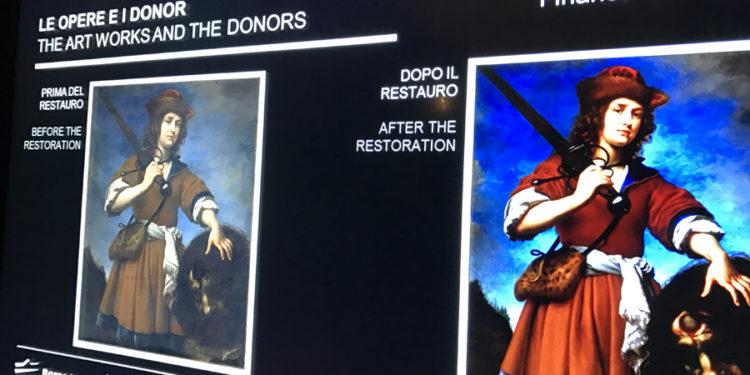 Davide con la testa di Golia, Carlo Dolci – restaurata con il supporto di Pitti Immagine, prima e dopo il restauro