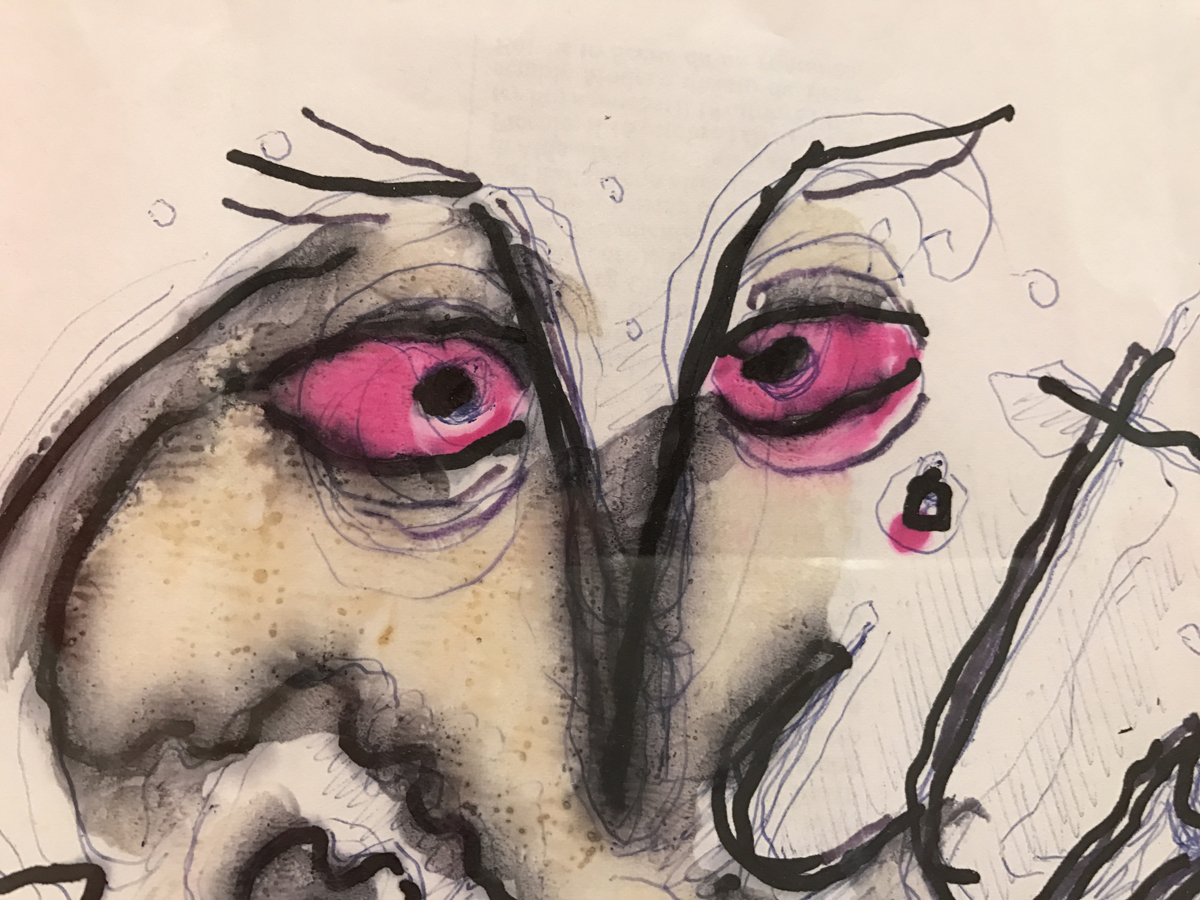 """Gillo Dorfles, particolare """"Vitriol"""", 2001-02, inchiostro e tecnica mista su carta, 29.5 x 21,5 cm"""