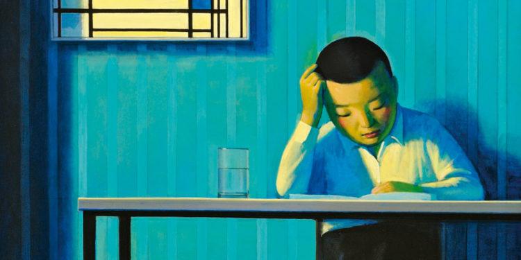 Liu Ye, Self Portrait with Mondrian,1998, Acrylic on canvas,110×80cm