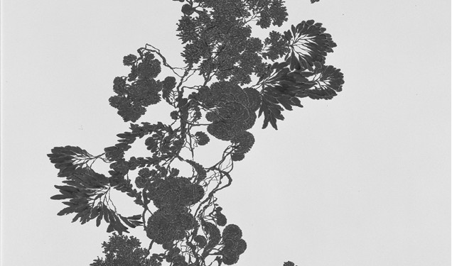 Yong-Kook Jeong Rootless Tree, 2008, Korean ink on Korean paper, 167 x 137 cm