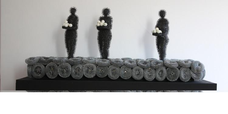 """Abderrahim Yamou """"Offrande"""" Bois,clous et tampon jex,140x60x60 cm 2010 L'atelier 21 gallery"""