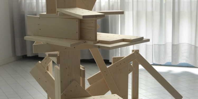 Ryan Gander Rietveld Reconstruction – Diego, 2006 Two Rietveld cargo chairs and Rietveld cargo table, dimensions variable Courtesy Tanya Bonakdar Gallery, New York, and Lisson Gallery, London