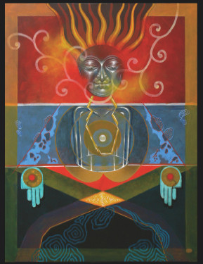 BUDDHA COMPOSITION 2008 (acrylic on canvas 36X48 inch), ANJAN BHATTACHARYA, ANASTASIA GALLERY