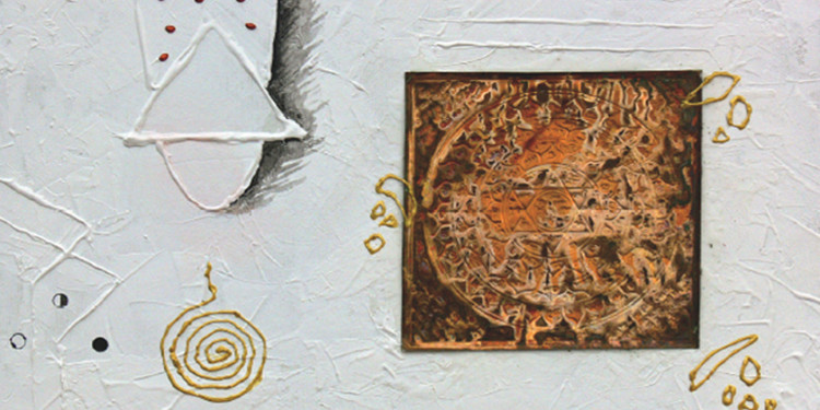 PEACE 2008 (2008 acrylic & copper plate on canvas 10x14 inch), ANJAN BHATTACHARYA, ANASTASIA GALLERY
