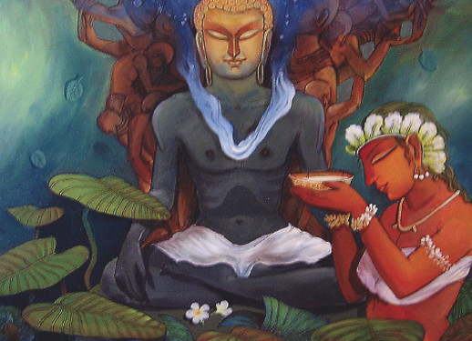 """PATH TO NIRVANA (SIZE 36""""*36""""ACRYLIC ON CANVAS), ASHOKE GANGUL, ANASTASIA GALLERY Buddha in his path to envisage sanctum sanctity and sanctorum is offered by his ardent follower Sujata some victual which strengthened his spirits to attain the conscious """"Bodhi""""."""